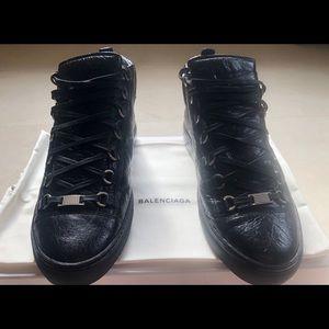 Balenciaga Arena Mid-Top Men's Sneakers; Black